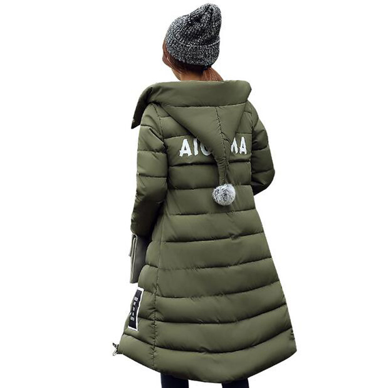 Women Long Down Cotton padded Jacket Lady Plus Size Winter Wadded Jacket Parka Slim Winter Coat