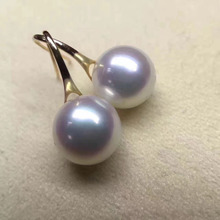 elegant pair of 10 11mm south sea round white pearl earring