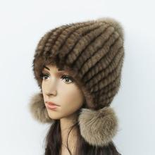 Women Warm Mink Fur Knitted Hat