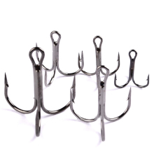 50pc FishHook Fishing Hook High Carbon Steel Treble Hook Fishing Tackle Round Bent Treble Saltwater Bass 2#-10# Fishing Tools