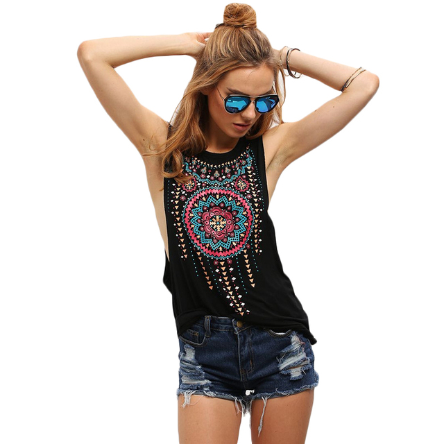 2526296f0cff SheIn New Summer Style Women Sexy Tops Black Round Neck Sleeveless Vintage  Tribal Print Fitness Casual Tank Tops