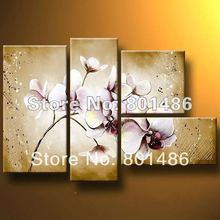 Free shipping! Top quality Contemporary purple orchid pictures Abstract Flower Oil Painting Wall Canvas 5 Panel