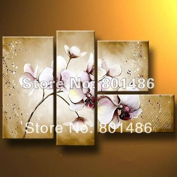 Purple Orchid Flower Abstract Handmade Oil Painting Wall Art Canvas Decor Paintings For Office Living Room Decoration Wholesale