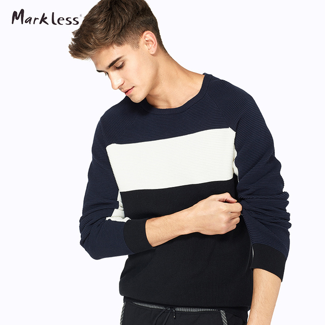 Markless New Autumn Contrast Color Men's Pullovers Sweaters Man Casual Knit Cotton Fashion Sweater For Mens