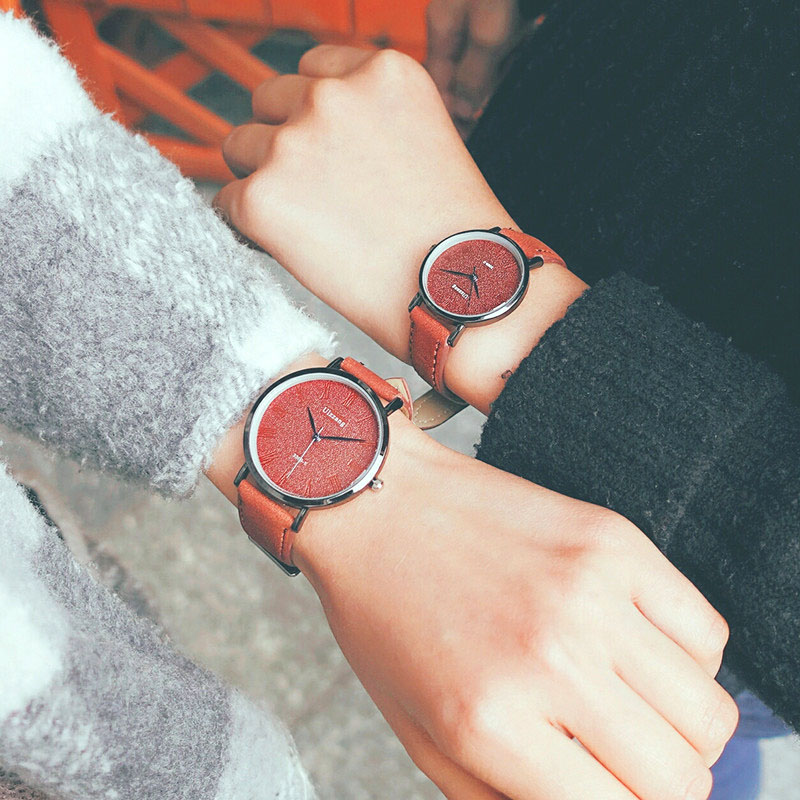 1 Pcs Women Men Watch Literary Style Couple Wrist Quartz Watch Round Alloy Case Fashion Casual Clock Gift LL@17