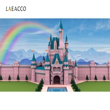 Laeacco Pink Castle Rainbow Princess Baby Portrait Photography Backgrounds Customized Photographic Backdrops for Photo Studio