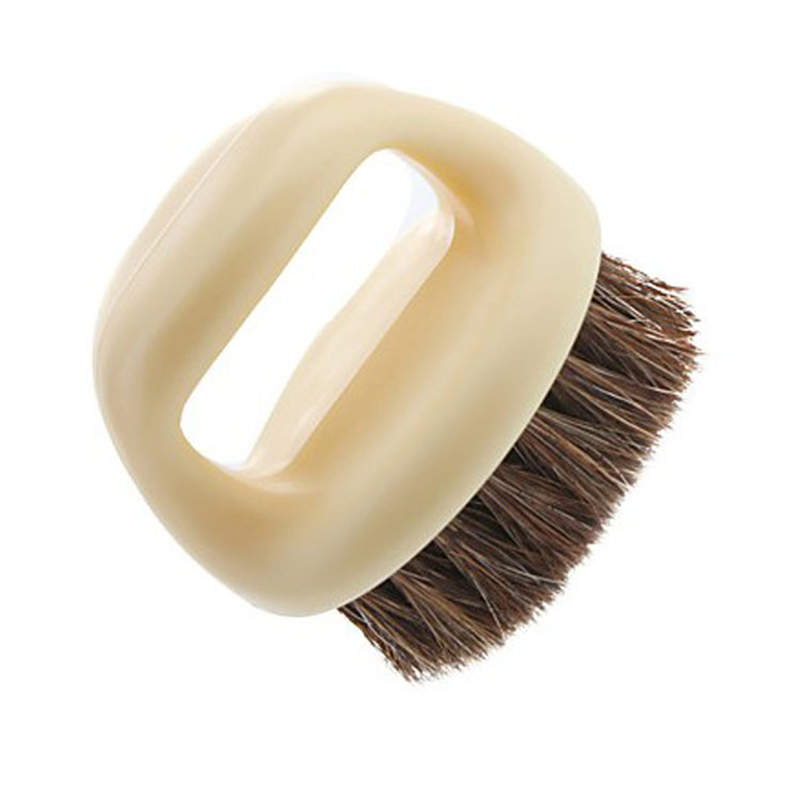 DoreenBeads Plastic Shoe Clothes Brush Horse Hair Round Bathroom Kitchen Cleaning Tool Beige Color 6.2*5.3*6.1cm 1PC
