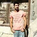 Marca 2017 nova primavera verão camisas casual t homens simwood shorts da luva 100% algodão puro tees letra do vintage clothing td1132