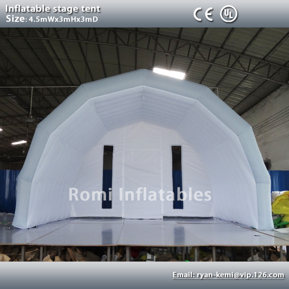 Custom 4.5mWx3mHx3mD light grey white inflatable stage tent oxford cloth tent inflatable canopy inflatable cover браслет lifestrength purestrength pure md white grey