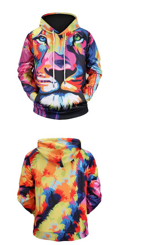 2018 3D Printed Lion Women/Men Sweatshirt Hoodies with Hat Fashion Hip Pop Loose Color Hoodies Warm Digital Harajuku Hoodies New