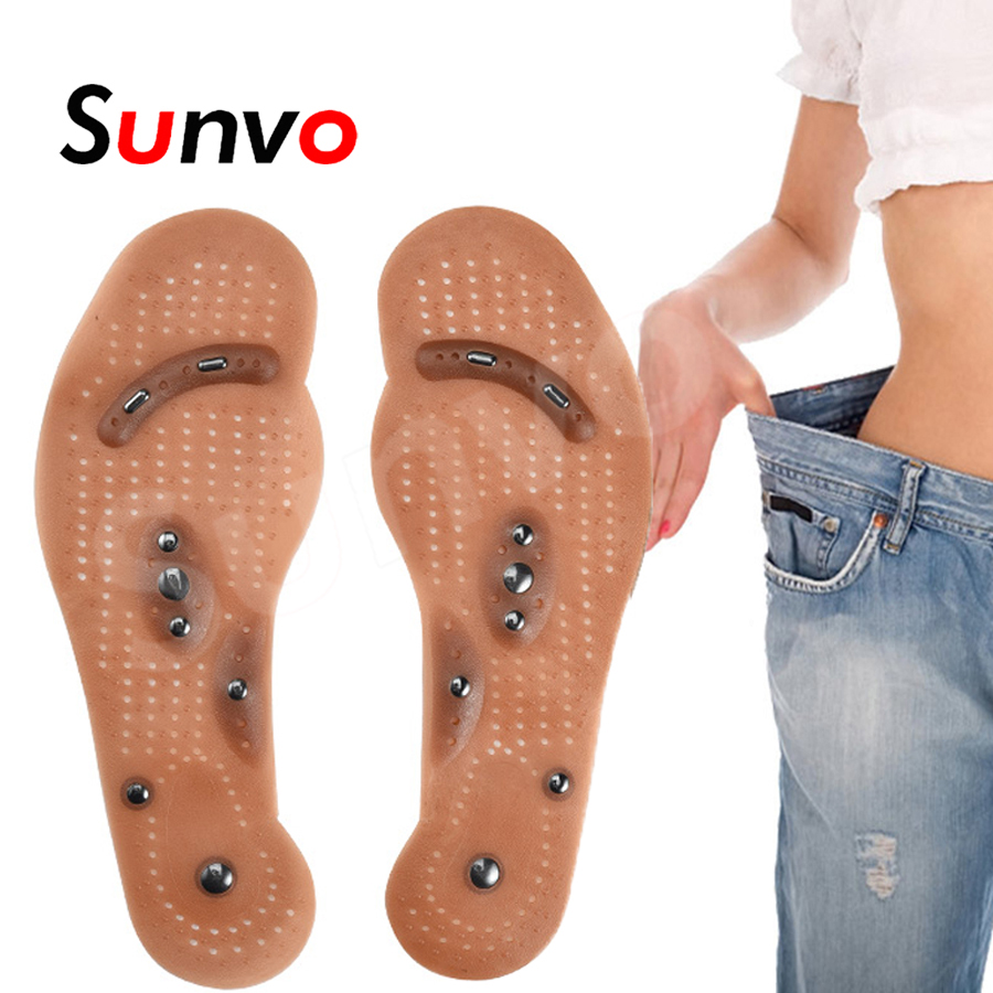 2pc Silm Sole Acupressure Magnetic Massage Foot Therapy Reflexology Pain