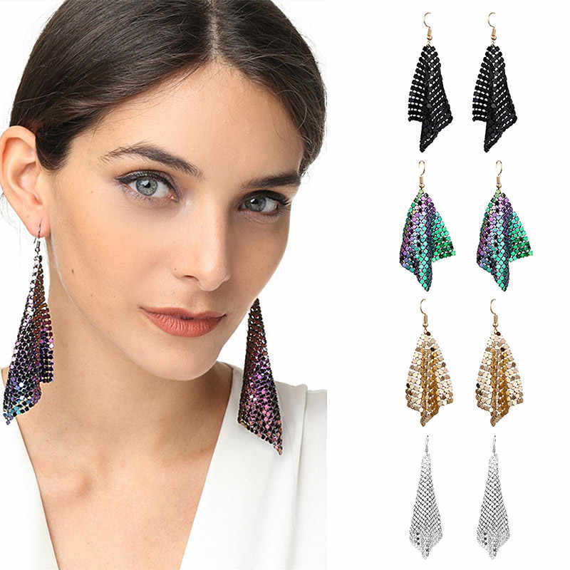 USTAR Square Paillette Statement Drop Earrings for Women fringed Dangle Earrings female 2018 Fashion Jewelry hanging Oorbellen