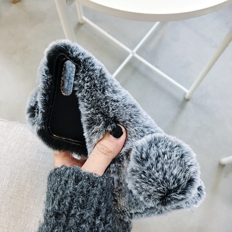 for iphone x xs xr cover Soft Fluffy Furry Rabbit Fur Glitter Crystal Phone case for iphone 6 7 8 plus in Phone Pouches from Cellphones Telecommunications
