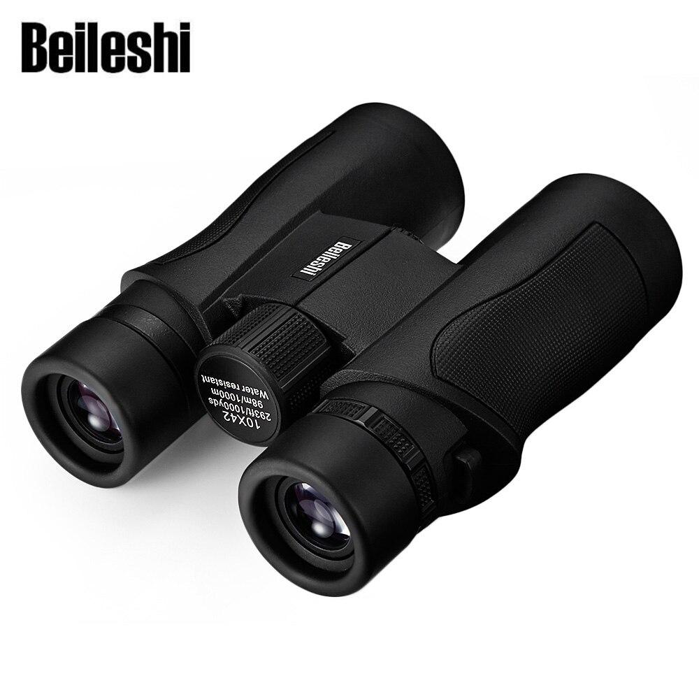 Beileshi 10X42 prismáticos HD impermeable gran angular BAK4 prisma plegable telescopio profesional de caza al aire libre Binocular militar