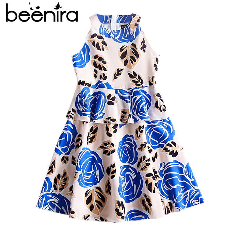 Beenira Kids Clothes 2017 New European And American Style Children Sleeveless Flore Pattern 4-14Y Evening Dress For Girls Dress beenira girls dress 2017 new european and american style kids printed pattern long sleeve dress for 4 14y children autumn dress