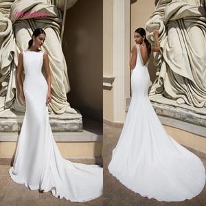 Image 1 - Simlple Soft Satin Mermaid Bride Wedding Dress 2019 new Robe de mariee sexy backless Bridal Gown vestidos de noiva