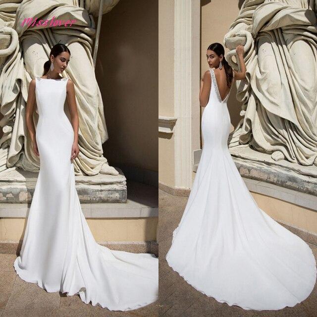 Simlple Soft Satin Mermaid Bride Wedding Dress 2019 new Robe de mariee sexy backless Bridal Gown vestidos de noiva