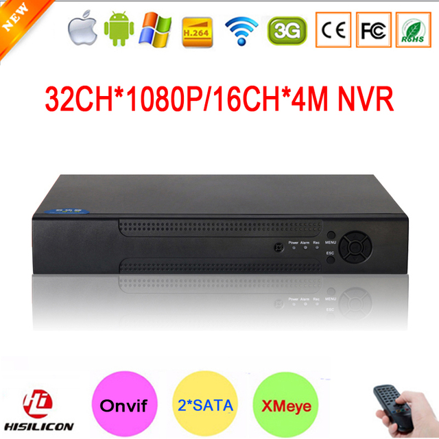 NOVO!!! Hi3535 Chip Dois SATA 32CH 1080 P 2MP IP 16CH Gravador De Vídeo Vigilância Câmera 4MP Digital HD Onvif NVR Gratuito grátis