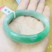 Отправить сертификат натуральный жадеитовый браслет Элегантный Светло-зеленый 54-61 мм Женский двухцветный нефритовый браслет ювелирный подарок