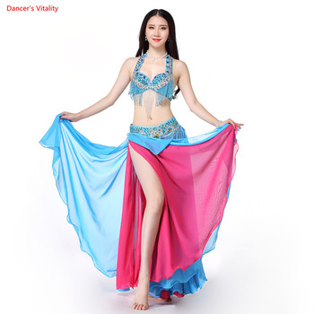 Women Belly Dance Wear Fashion East Style Oriental Outfits Indian Dance Costume Set Tassel Bra and Sexy Split Skirt with Belt