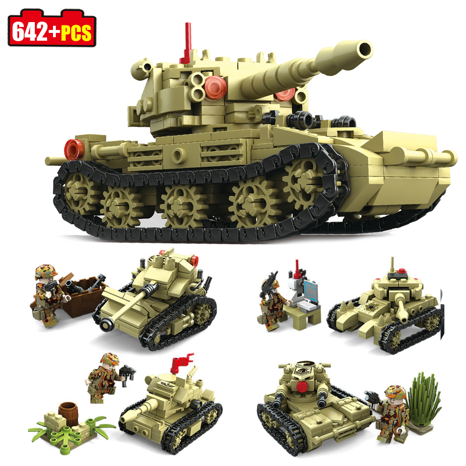 642+pcs KAZI Military 4 Style Army War SK105 Tank Building Blocks Compatible Legoed tank weapon Bricks Toys For Children friends qunlong military 8in1 829pcs 8 figures building blocks compatible legoed tank warship army war toys for children constructor set