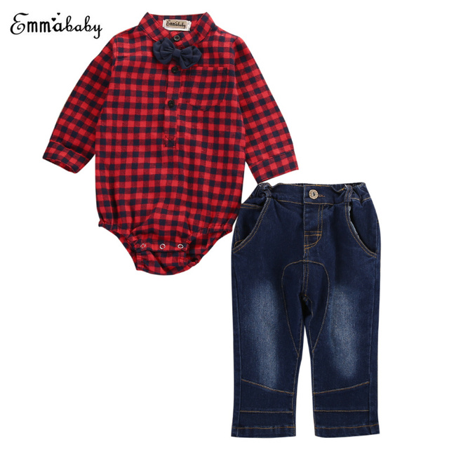 d2809a004 2pcs Set 2017 Kids Clothing Baby Boy Clothes Long Sleeve Blouse Red Plaid  Tops+Jeans Pants Outfits Clothes Set
