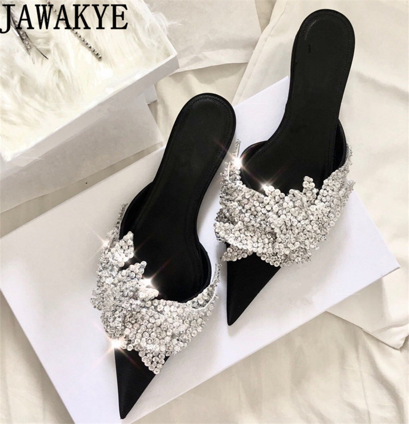 Runway satin Summer Slippers women Luxury Design bling bling crysatal Pointed Toe beach Shoes rhinestone unicornio mules ladiesRunway satin Summer Slippers women Luxury Design bling bling crysatal Pointed Toe beach Shoes rhinestone unicornio mules ladies