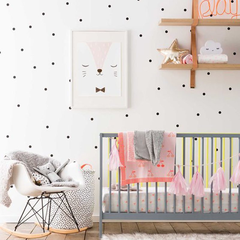 Polka dots wall stickers baby nursery cartoon dots wall for Dots design apartment 8
