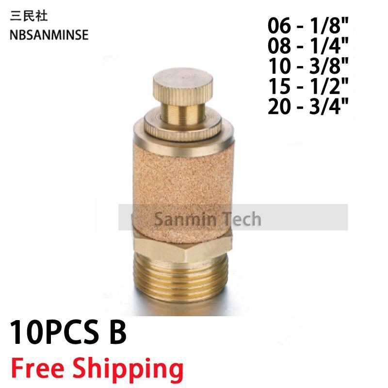 NBSANMINSE 10Pcs lot B 1 8 1 4 3 8 1 2 3 4 Exhaust Muffler Throttle Valve Silencer Sintered Copper Muffler Brass Fitting in Pneumatic Parts from Home Improvement