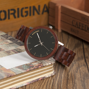 Image 2 - ボボ鳥赤木製バンド腕時計男性ナチュラルハンドメイド日本運動クォーツウッド腕時計レロジオ masculino C M16