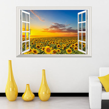 Dream home new KM271 creative 3D false window sunflowers seascape wall paste personality decoration