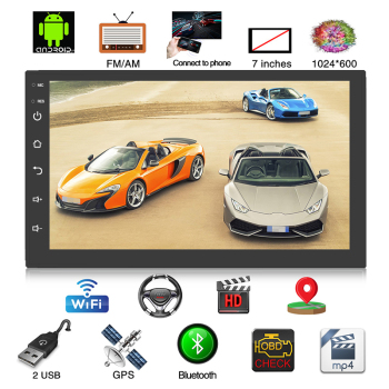 2 Din Car Radio GPS Android 8.0 Universal Multimedia Video Player 7 2din Car MP5 Player GPS NAVIGATION WIFI Bluetooth No DVD image