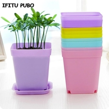 New 10pcs/pack FlowerPot Square Plastic Planter Nursery Garden Desk Home Decor Candy Color 7 Random Colors free shipping GYH