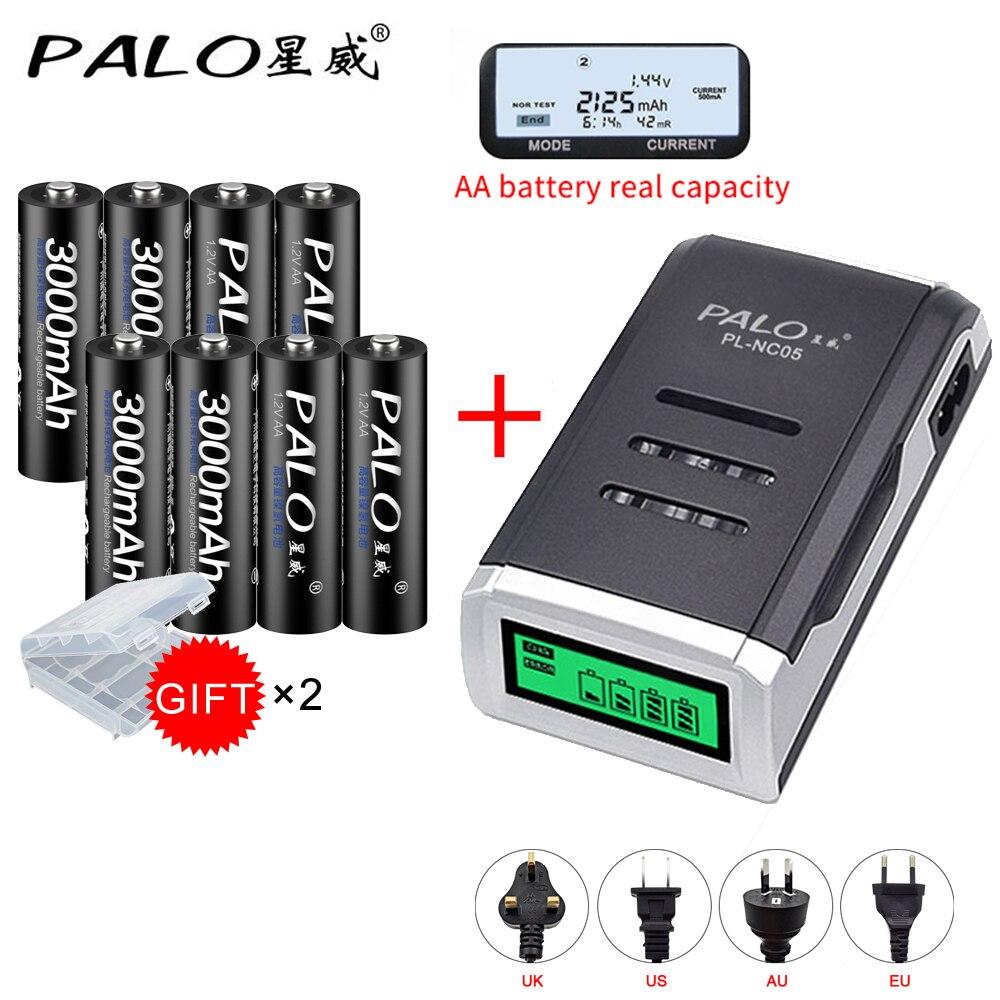 PALO 8 piezas AA 3000 mah Ni-MH recargable de 1,2 V pilas aa de la batería recargable de la batería aa LCD pantalla cargador