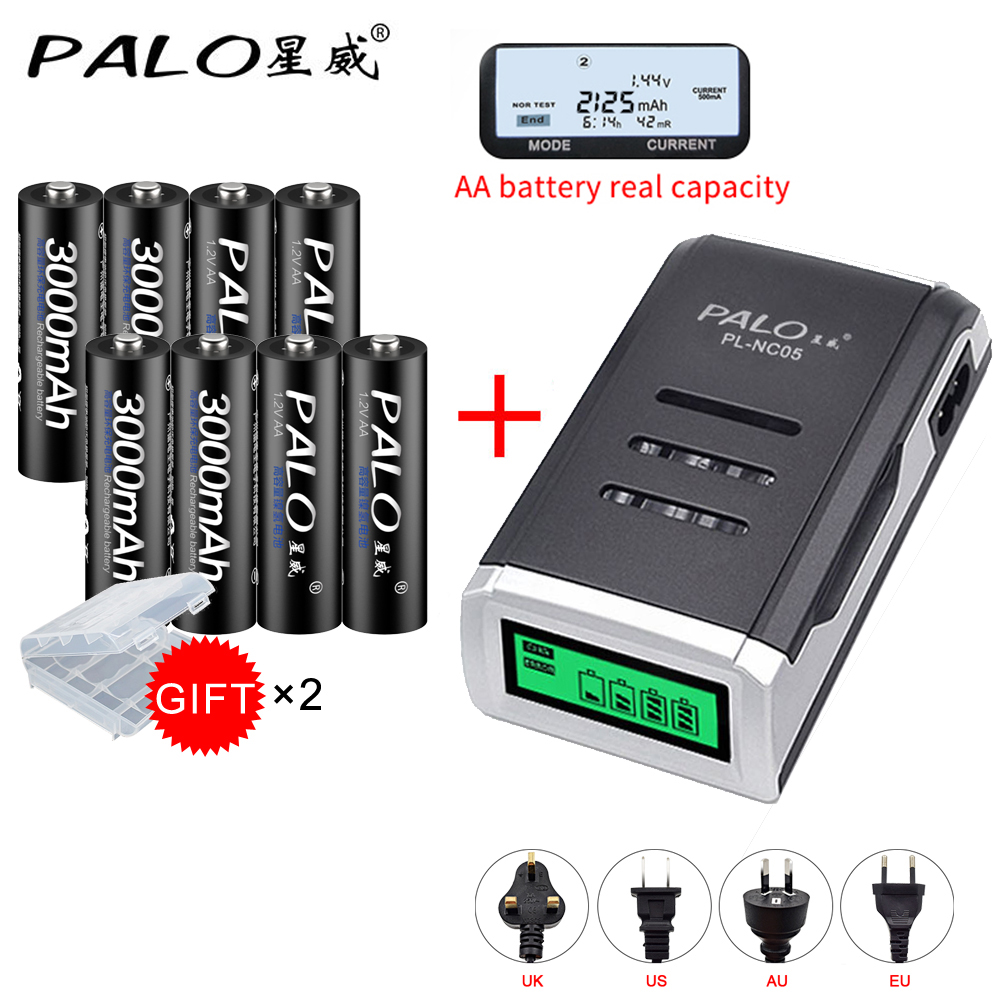 PALO 8 stücke AA 3000 mah NI-MH 1,2 V akkus aa batterie batterie akku mit aa LCD dispay batterieladegerät-fall