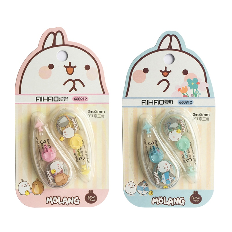 2 Pcs/pack Happiness Molang Press Type Practical Correction Tape Diary Stationery School Supply For Students