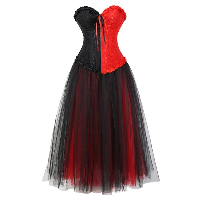 Corset robe fermeture eclair devant Bustier Corset robe avec jupe longue ensemble Burlesque Halloween Costume grande taille Korsett rouge et noir