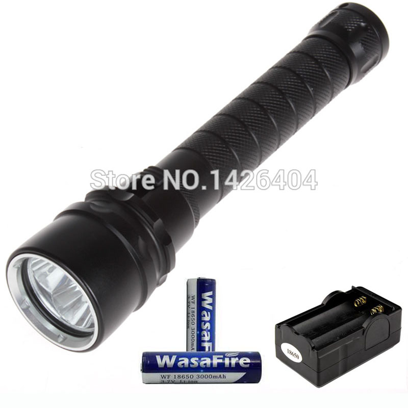 4000 Lumen 30W 3 X T6 LED Diving Flashlight Torch 100M Underwater Waterproof LED Flash Light With 18650 Battery & Charger стоимость