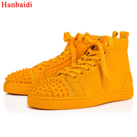 Hanbaidi Fashion Rhinestone Mens Shoes Sneakers Luxury Party Wedding Shoes Genuine Leather Spikes Lace up Casual Shoes Yellow 46