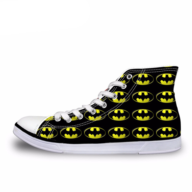 b7f626db2365e US $28.79 28% OFF|Customized Cool Spider High Top Canvas Shoes Boys Men  Lace up Vulcanize Shoes Male Superstar Batman Flats Sneakers Zapatos-in  Men's ...