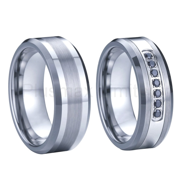 couple tungsten carbide ring matching wedding bands set men and