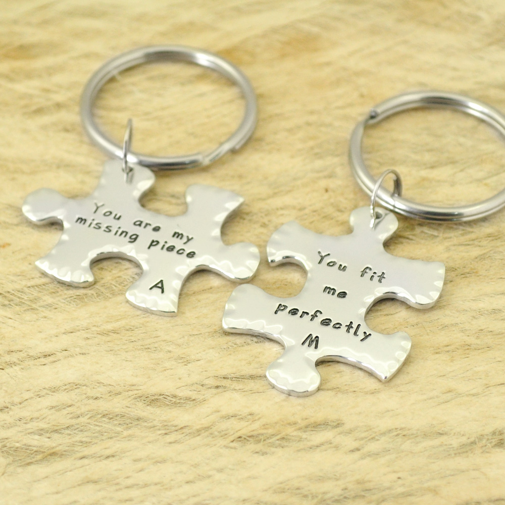 US $12 99 |Personalized Anniversary Gift Puzzle Piece Keychains Customized  Keychains Couple Keychains Gifts For Couple-in Key Chains from Jewelry &