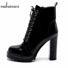 Mabaiwan 2017 New Fashion Women Ankle Boots Platform Short Sexy High Heels Shoes Women Pumps Lace Up Botines Mujer 3 Styles Lace