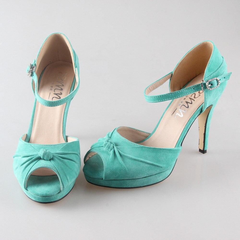 Zapatos Tacon Verde Menta