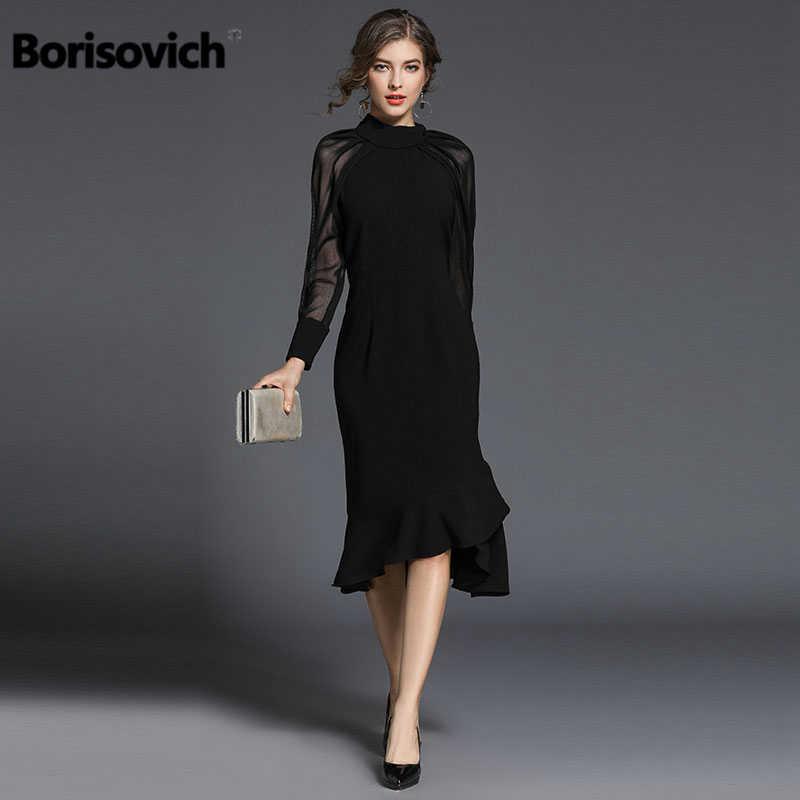 12583bc20e4 Borisovich Luxury Women Mermaid Dresses New Arrival 2018 Spring Fashion  Elegant Slim Ladies Black Evening Party