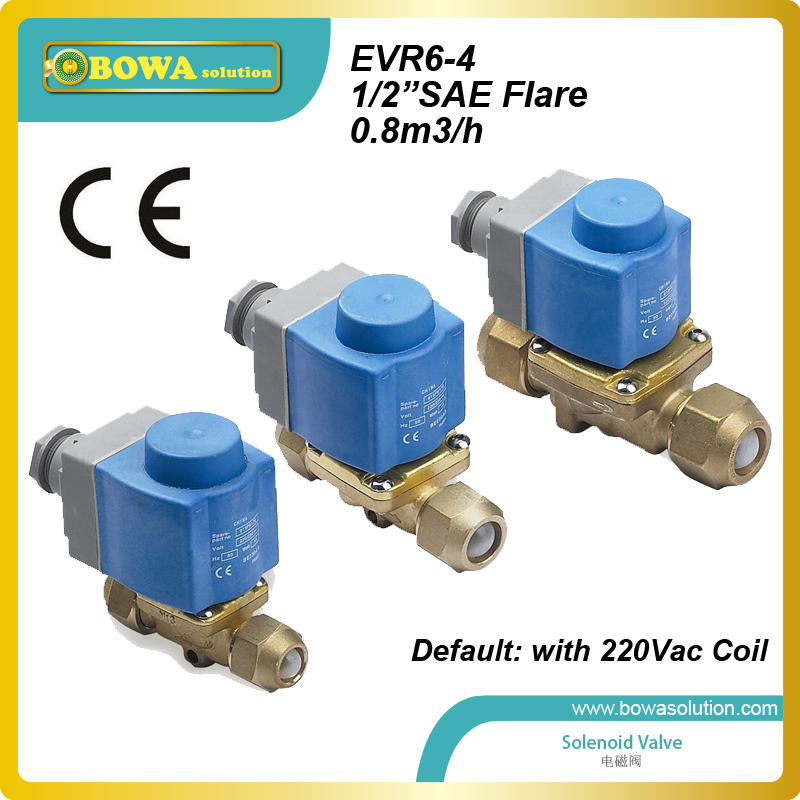 1/2 SAE Flare(0.8M3/h) HVAC solenoid valve for bypass solution working together with bypass valve to defrost r410a hvac r solenoid valve with 4 5mpa working pressure is also suitable for r32 air condtioner or water chillers