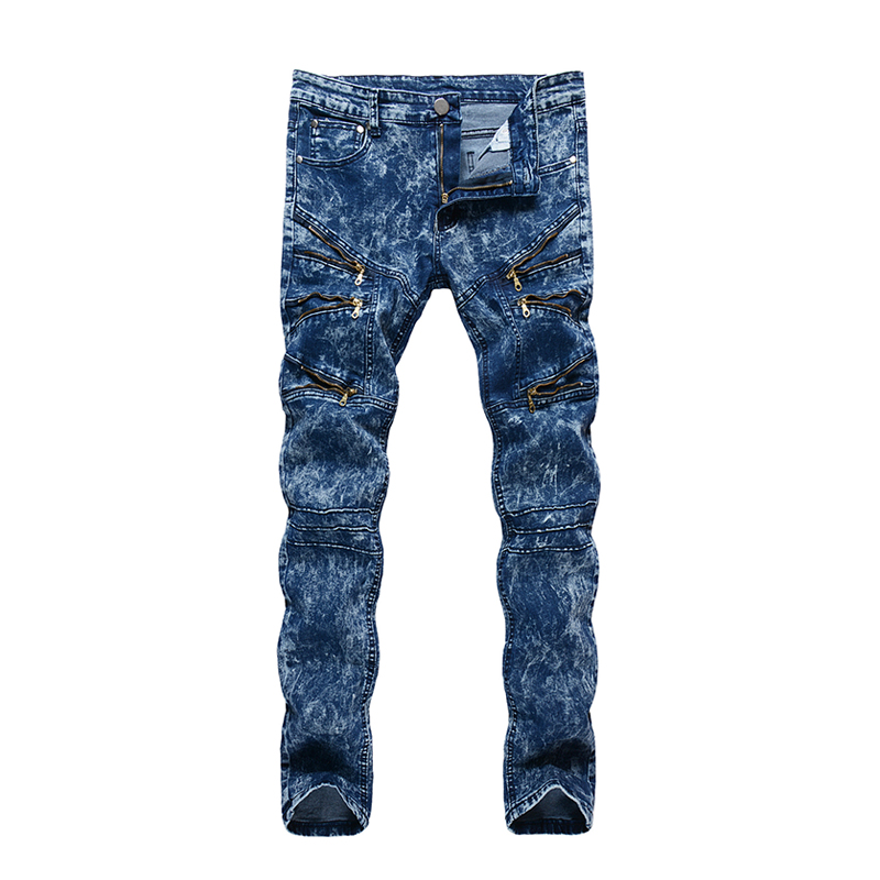 ABOORUN Korean Mens Skinny Jeans Snowflake Zippers Stretch Pencil Jeans for Male x418
