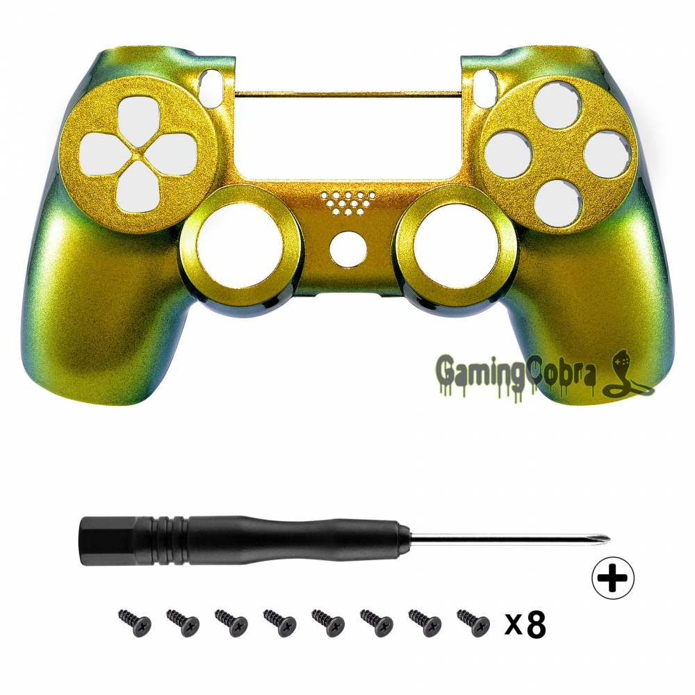 Gold to Green Chameleon Design Shell Cover for PS4 Pro Slim Controller JDM-040