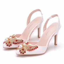 Red Crystal Wedding Shoes High Heel Party Dress Shoe Pointed Toe Summer Sandals Flower Fashion Woman XY-B0227