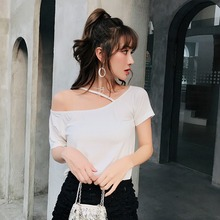 New Women Summer 2019 Tshirt Casual Short Sleeve Tops Tees Sexy Off Shoulder Solid Color T-Shirt Women Loose Fashion T Shirt sexy off shoulder tshirt women summer t shirt solid color hollow out short sleeve loose casual tees tops plus size streetwear